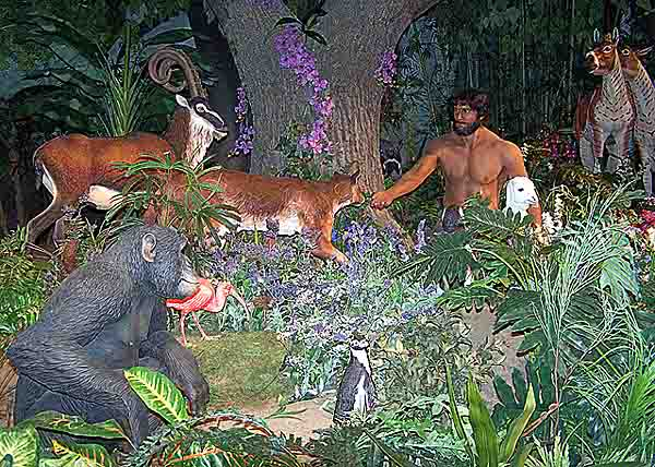 Adam with deer, an antelope, a lamb, a monkey, a penguin and a flamingo